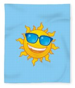 Summer Sun Wearing Sunglasses Fleece Blanket