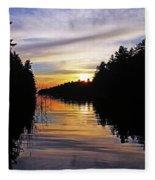 Sundown On The River Fleece Blanket