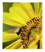 Sunflower And Bee Fleece Blanket