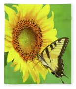 Sunflower And Swallowtail Fleece Blanket
