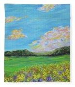 sunflower valley- Sunflower Art-Impressionism painting Fleece Blanket