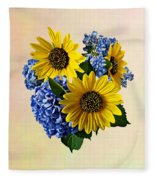 Sunflowers And Hydrangeas Fleece Blanket