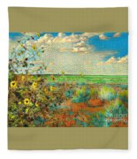 Sunflowers On The Edge Fleece Blanket