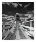 Sunny Skies At Marshall Point In Black And White Fleece Blanket