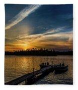 Sunrise Dog Lake Fleece Blanket