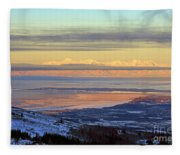 Sunrise View Across Cook Inlet From Above Anchorage Alaska Fleece Blanket