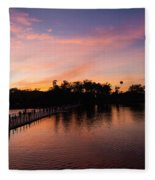 Sunset At Angkor Wat Fleece Blanket