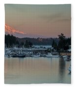 Sunset At Gig Harbor Marina With Mount Rainier In The Background Fleece Blanket