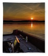 Sunset Fishing Dog Lake Fleece Blanket