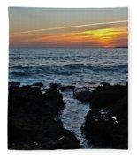 Sunset In Gale Beach. Coast Of Algarve Fleece Blanket