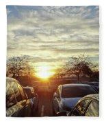 Sunset In Parking Lot 2 Fleece Blanket
