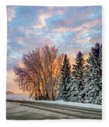 Sunset In Winter Fleece Blanket