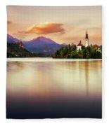 Sunset On Lake Bled Fleece Blanket