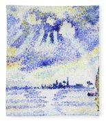 Sunset On The Lagoon, Venice - Digital Remastered Edition Fleece Blanket