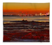 Sunset On The Still Frozen Upper Niagara River Fleece Blanket