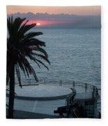 Sunset Over A Balcony Fleece Blanket