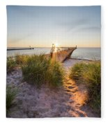 Sunset Over Dunes And Pier Fleece Blanket