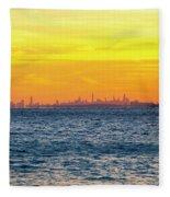 Sunset Over The City Fleece Blanket