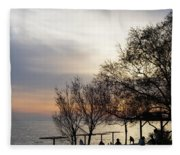 Sunset Scene Of Tree Branches And People Silhouettes Fleece Blanket