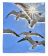 Sunshine And Seagulls Fleece Blanket