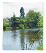 suspension bridge on river Teviot near Heiton Fleece Blanket
