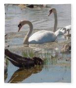 Swan Family Outting  Fleece Blanket