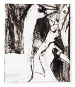 Swans After Mikhail Larionov Black Oil Painting 5 Fleece Blanket