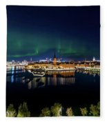 Swirly Aurora Over Stockholm And Gamla Stan Fleece Blanket