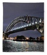 Sydney Harbor Bridge Night View Fleece Blanket