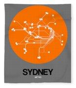 Sydney Orange Subway Map Fleece Blanket