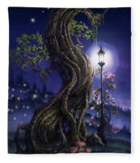 Sylvia And Her Lamp At Dusk Fleece Blanket