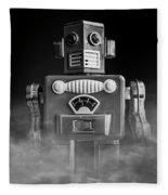 Take Me To Your Leader Vintage Tin Toy Robot Black And White Fleece Blanket