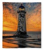Talacre Beach Lighthouse Sunset Fleece Blanket