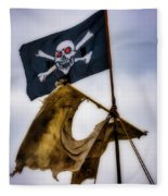 Tattered Sail And Pirate Flag Fleece Blanket
