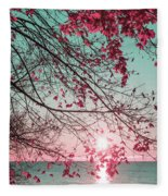 Teal And Fuchsia - Autumn Sunrise Reimagined Fleece Blanket