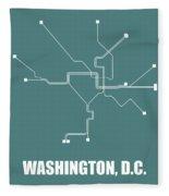 Teal Washington, D.c. Subway Map Fleece Blanket