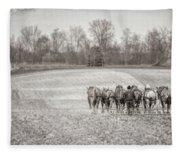 Team Of Six Horses Tilling The Fields Fleece Blanket