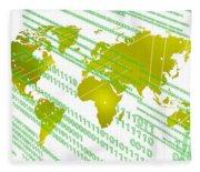 Tech Worldmap With Binary Code Fleece Blanket