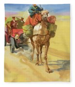Ten Thousand Mile Motor Race Camel Train Fleece Blanket