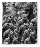 Terra Cotta Warriors In Black And White, Xian, China Fleece Blanket