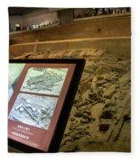 Terra Cotta Warriors In Pit 3 Ruins With Diagram Fleece Blanket