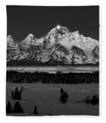 Teton Monochrome Moon-set  Fleece Blanket