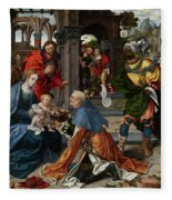 The Adoration Of The Magi With Donor  Fleece Blanket
