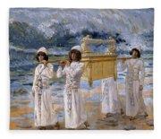 The Ark Passes Over The Jordan, 1902 Fleece Blanket