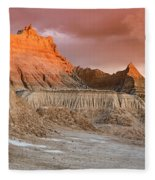 The Badlands With Another Sunrise Fleece Blanket