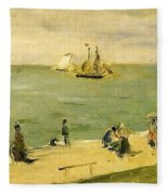 The Beach At Petit-dalles Also Known As On The Beach - 1873 - Virginia Museum Of Fine Arts Usa Fleece Blanket