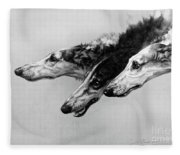 The Borzois, Black And White Sketch, 3 Russian Wolfhounds Fleece Blanket