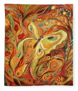 The Butterfly And Pomegranates Fleece Blanket