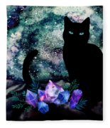 The Cat With Aquamarine Eyes And Celestial Crystals Fleece Blanket