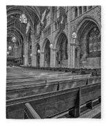The Chapel At Princeton University Bw Fleece Blanket by Susan Candelario